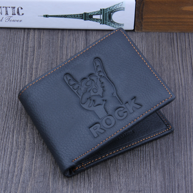 цена на Rock men wallets genuine leather wallet design men wallets with coin pocket purse 2018 new gift cards clip black simple style