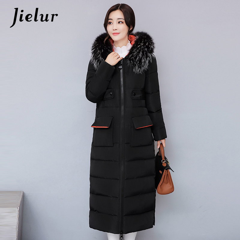 2017 Winter New Big Fur Collar Parka Women Jackets Fashion Slim Long Women's Down Jacket M-2XL Camouflage Pockets Warm Coat XXL x long woman warm winter down coat camouflage brand really fur collar hood print down jackets with pockets size m 3xl