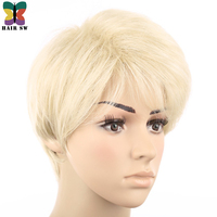 HAIR SW Blonde Wig Synthetic hair Short Mens Wig pixie cut Full Straight Fluffy Natural short ladies Hairstyle
