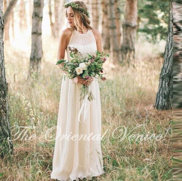 Vestidos de Novia Elfenbein Chiffon Boho Hochzeitskleid 2016 Land Stil ...