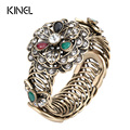 Kinel Fashion Vintage Bracelet For Women Plating Gold Turkish Crystal Flower Bracelets Love Resin Bangle Party Wedding Jewelry