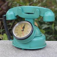 Blue Retro Vintage Antique Metal Telephone Dial Desk Phone Wall Clock Prop Ornament Collectiable