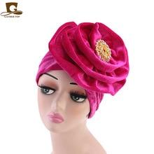New metal brooch king flower velvet turban women headbands Bonnet Chemo Cap Muslim Scarf Hijab Islamic Turbante hair accessories цена в Москве и Питере