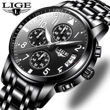 LIGE Mens Watches Top Brand Luxury Fashion Business Quartz Watch Men Sport All S