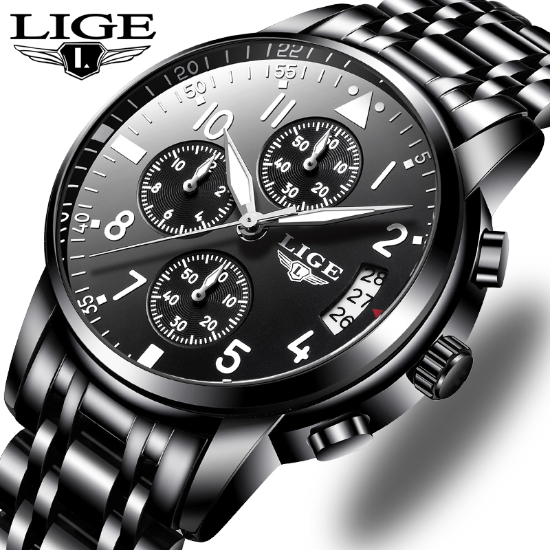 LIGE Mens Watches Top Brand Luxury Fashion Business Quartz Watch Men Sport All Steel Waterproof Black Clock Relogio Masculino