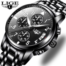 цены на LIGE Mens Watches Top Brand Luxury Fashion Business Quartz Watch Men Sport All Steel Waterproof Black Clock Relogio Masculino  в интернет-магазинах