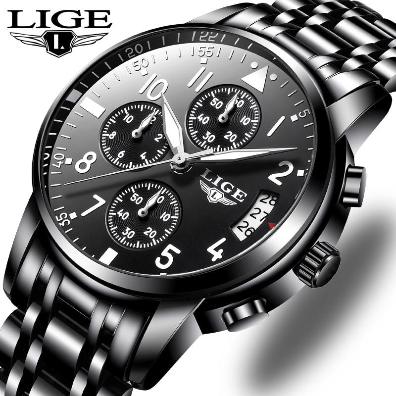 LIGE hommes montres Top marque de luxe de mode affaires Quartz montre hommes Sport tout acier étanche noir horloge Relogio Masculino