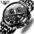 Lige mens watches 톱 브랜드 럭셔리 패션 비즈니스 쿼츠 시계 남성 스포츠 모든 스틸 방수 블랙 시계 relogio masculino
