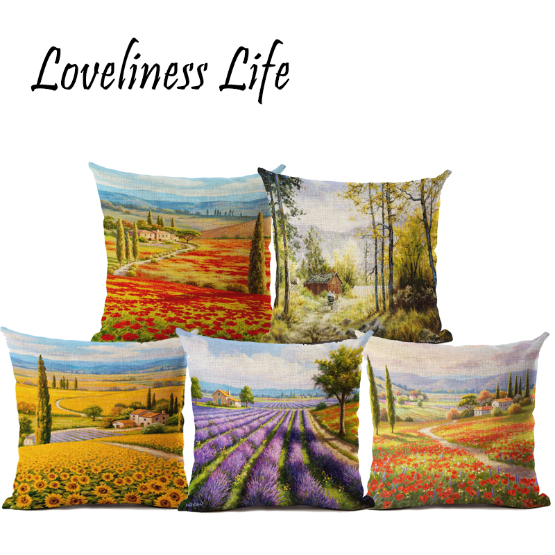 Fresh Nordic Design Lavender Printed Linen Cushion Cover Home Decor Christmas Decorative Throw Pillow 45x45cm Almofadas Cojines