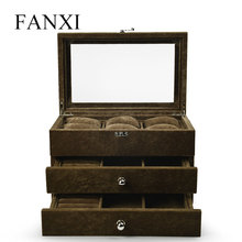 FANXI  New Jewelry Display Storage Case Coffee Three Layers Jewelry Box Bracelet Necklace Ring Watch Chain Organizer with Glass цена и фото