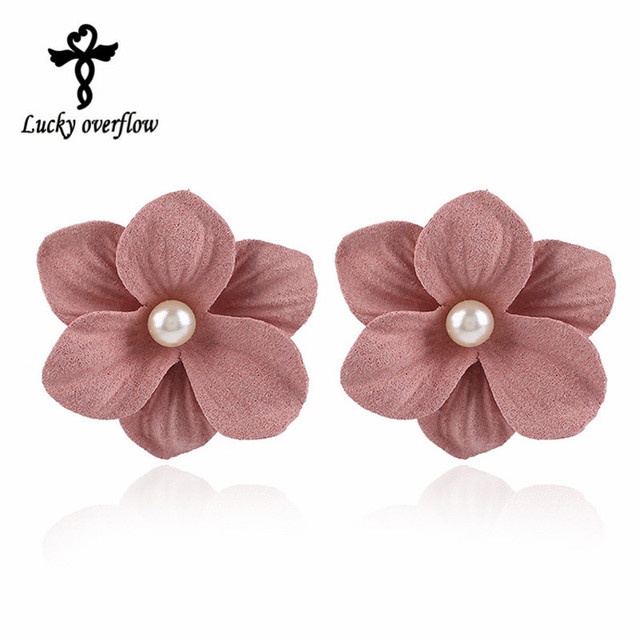 2018 Fashion Cute Handmade 3 Colors Fabric Beads Pearl Flower Earrings Stud Earring Brand Jewelry