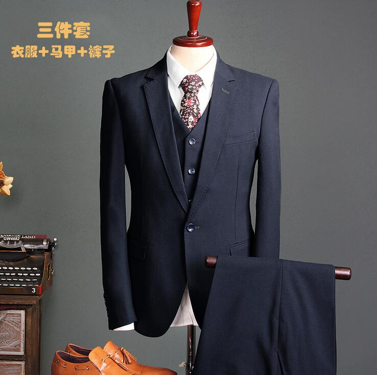 2017 New In stock Best man suit Groom Tuxedos Business Navy Blue Suit Wedding Suits Men Bridegroom Blazer 3 piece