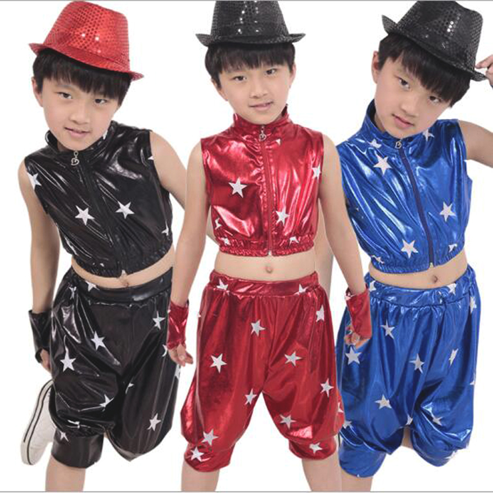 Bazzery Children's Jazz Dance Costumes Hip - hop Clothes Boys Girls Five Star Patent Leather Suit for Christmas New Year Party