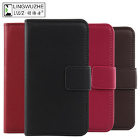 LINGWUZHE Cell Phone Case Genuine Leather Credit Card Slot Flip Cover For Vernee Thor Plus 5
