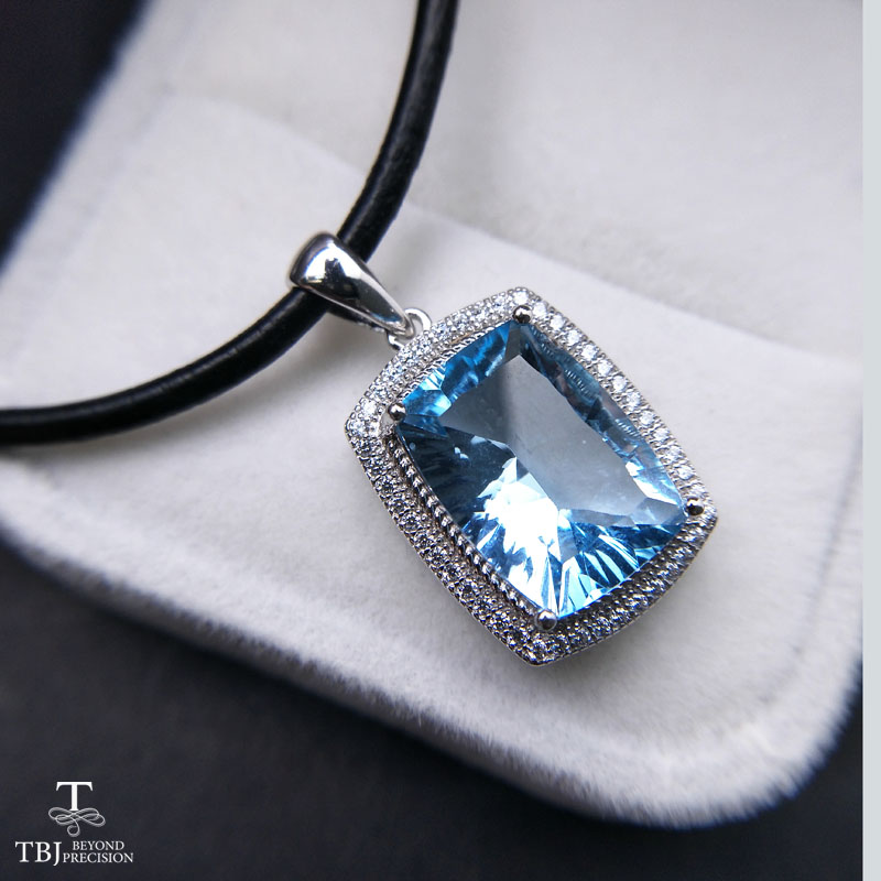 TBJ Big 8 5 carat sky blue topaz cu10 14 pendants Simple and valuable design Big