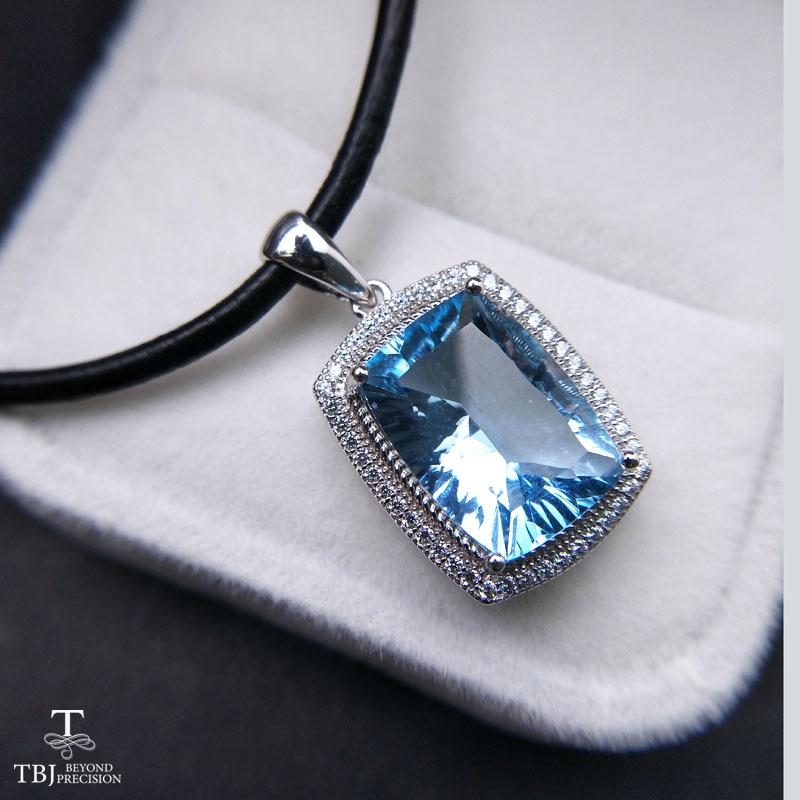 TBJ ,Big 8.5 carat sky blue topaz cu10*14 pendants,Simple and valuable design,Big natural gemstone pendants with cord hattie big sky