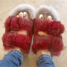 Fashion Rabbit Fur Women Slippers Winter Warm Gladiator Sandals Ladies Summer Flats Casual Shoes Woman Slides
