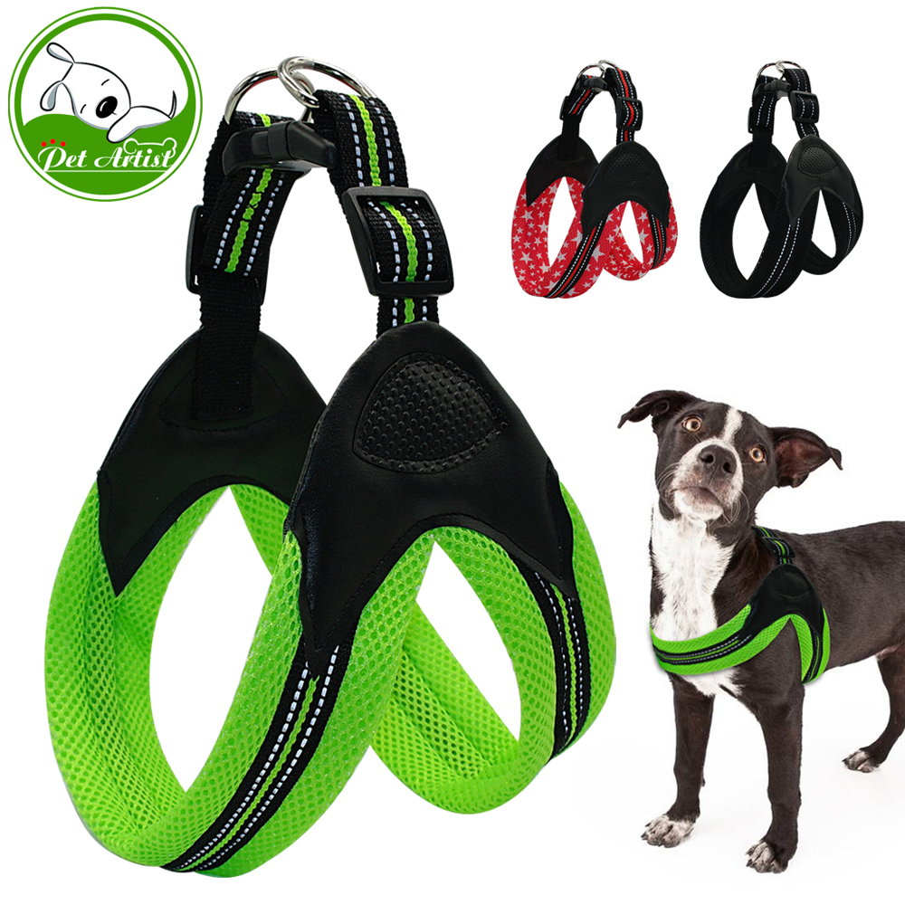 No Pull Reflective Pet Dog Harnesses Soft Mesh Padded Dog Harness Security For Medium Large Dogs 3 Colors ...