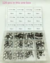 Abrazadera de tubo de acero inoxidable 120, Kit surtido de abrazaderas de manguera de oreja individual con caja, 304 Uds., envío gratis