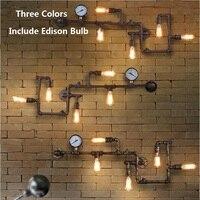 Nordic Америка Железный трубы Настенные светильники с Edison лампы промышленные Лофт светильник настенный крючок Кофе Винтаж Настенные светильн