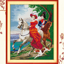 Joy Sunday,Knight couples, Cross Stitch Embroidery Set, Printed Needlework, Portrait embroidery