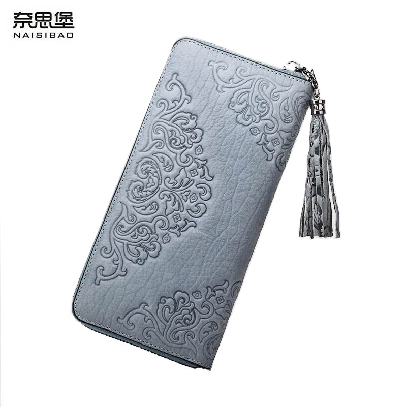 New luxury women bags fashion Superior cowhide women wallets genuine leather clutch bag women leather wallets zipper long tassel