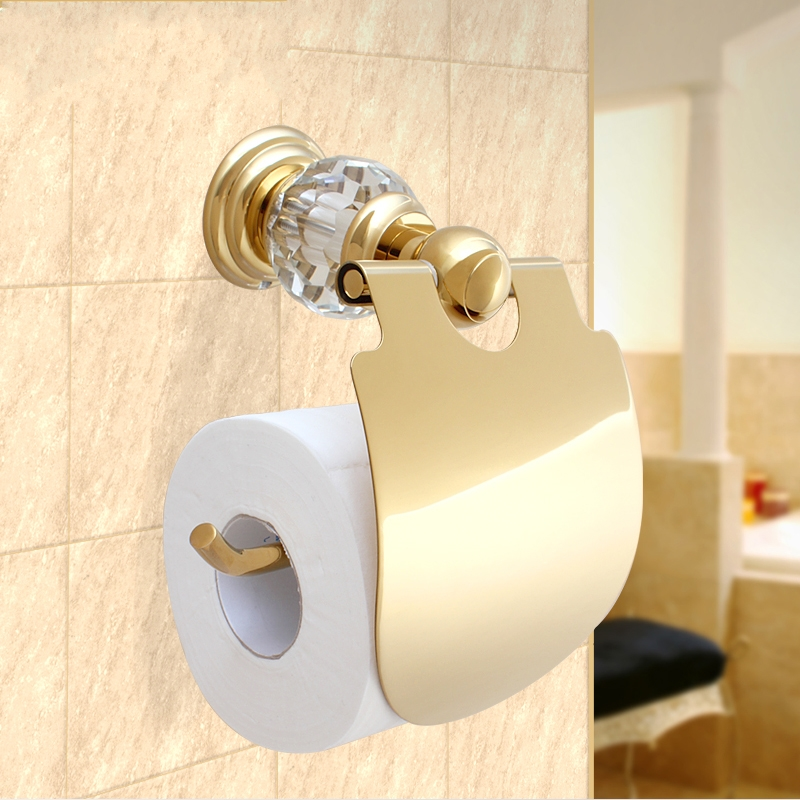 ФОТО High Quality Luxury Crystal Decoration Gold Brass Toilet Paper Holders Waterproof Tissue Bathroom Accessories