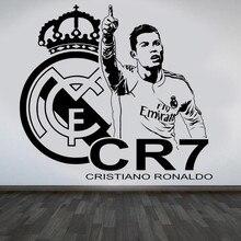 3D CRISTIANO RONALDO team logo Vinyl Wall Sticker REAL FC Footballer star Decal removable home decor Football Star decal