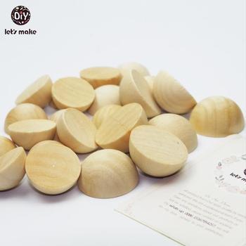 Faisons 20mm non fini demi perles en bois 100PC en bois hémisphérique naturel boule autocollant/Patch Cabochon breloque résultats