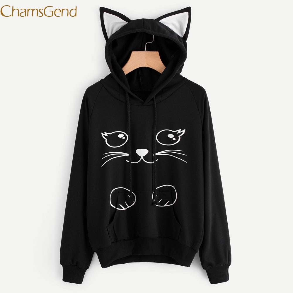 Chamsgend Newly Design Women Cute Cat Printed Kitty Ear Hoodie Sweatshirt Black Pullovers Coat with Front Pocket 70929 Drop Ship