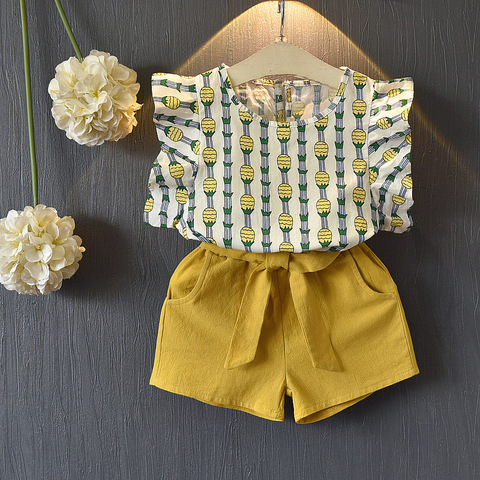 2 3 4 5 6 7 8 ano roupas das meninas 2019 verao novo conjunto