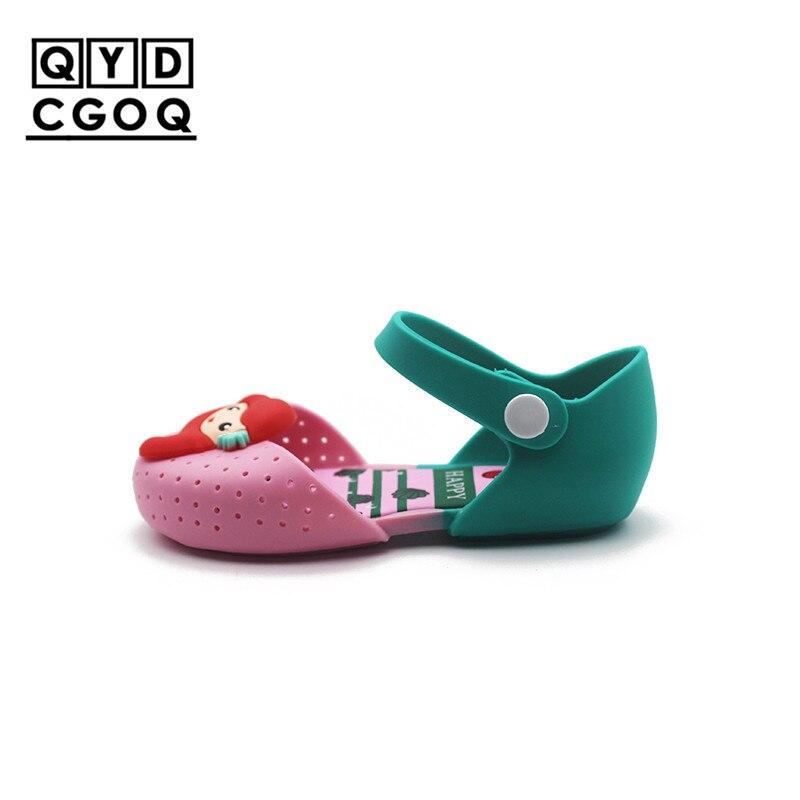 Mini Melissa Style Mermaid Princess Girls Jelly Sandals 2018 New Lovely Girls Jelly Sandals Soft Bottom Children Beach Sandals