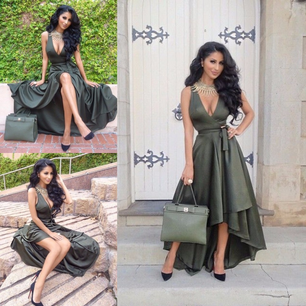 Vintage Summer Style sexy deep V Neck Sleeveless A-line Floor Length High Low Taffeta party prom Gown   bridesmaid     dresses