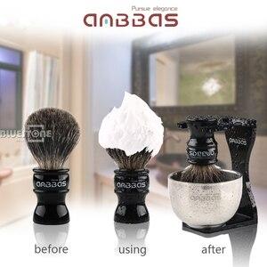 Image 2 - Anbbas Barber Rasierpinsel Dachs Haar, Schwarz Acryl Stand, Schüssel Set