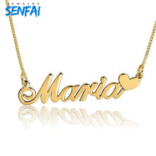 Custom Name Necklaces & Pendants Link ketting Popular Design Personalized Name with Heart Choker Collare Cadeau Maitresse