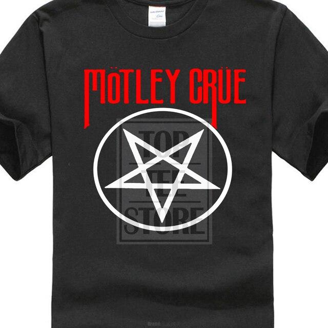 51d88077726 T Shirt Short Sleeve Brand New Motley Crue Pentagram Symbol Men'S Anime T  Shirt
