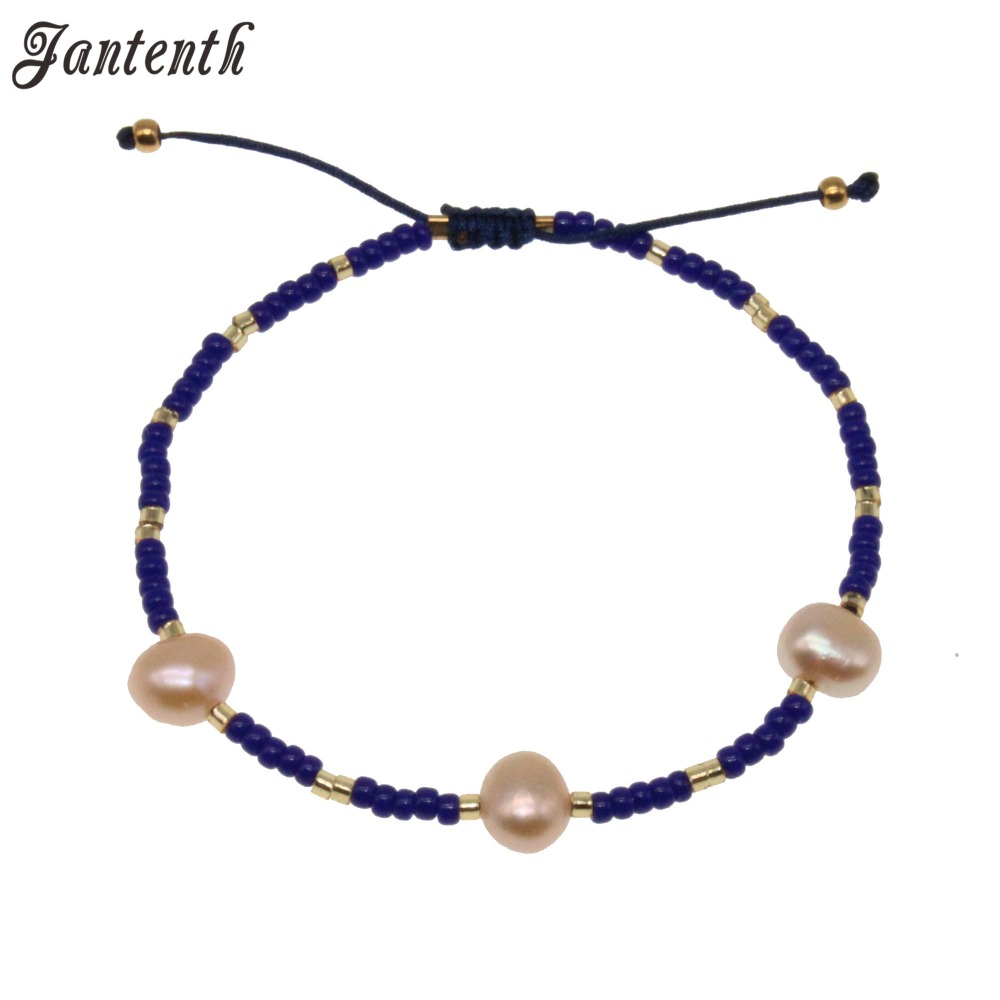 Jantenth Natural Freshwater Pearl Bracelet Handmade Blue Beads Fashion Beach Jewelry Bohemia Charm Bracelet For Gifts