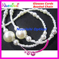 Retail Replaceable Tips Elegant White Copy Pearl Beaded Sunglasses Eyewear Glasses Chain Lanyard Rope Holder free shipping L831