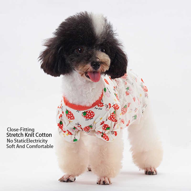 OnnPnnQ платье для собак фрукты вишня клубника печатных жемчужное платье принцессы Щенок мягкая хлопковая одежда для маленькие собачки чихуахуа