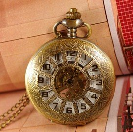 Free shipping wholesale 1pcs/lot mens Retro Steampunk White Twelve case Pendant Necklace Pocket watch chain hand wind mechanical