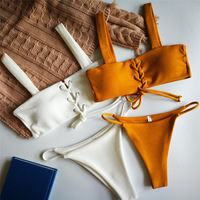 New Bikini Set Women Sexy Lace Up Ribbed Texture Low Waist Swimsuits Wire Free Solid Color