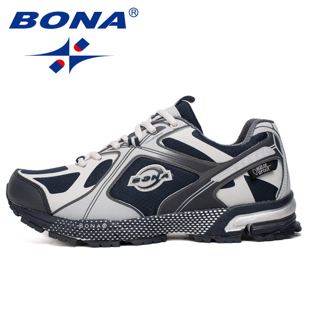 BONA New Waterproof Style Men Running Shoes Ourdoor Walking Sneakers Lace Up Athletic Shoes Comfortable Light Fast Free Shipping 3