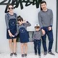 2017 la familia del otoño fijó pareja ropa de deporte juego de la raya de los hombres boy clothing set, las mujeres se Visten Las Niñas Vestido de mirada de la familia