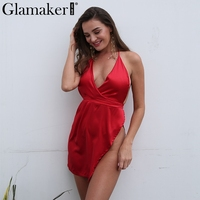 Glamaker Halter Sexy Split Satin Sun Dress Women Backless Deep V Neck Mini Dress Summer Elegant