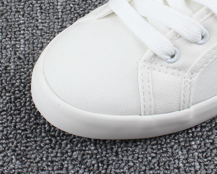 Venta caliente de La Manera de Las Mujeres Zapatos de Lona Blanca Conciso Bajo Tapa Ocasional piso de Estudiantes Atan Para Arriba Los Zapatos de Lona Zapatos de Las Mujeres Más El Tamaño 35-44