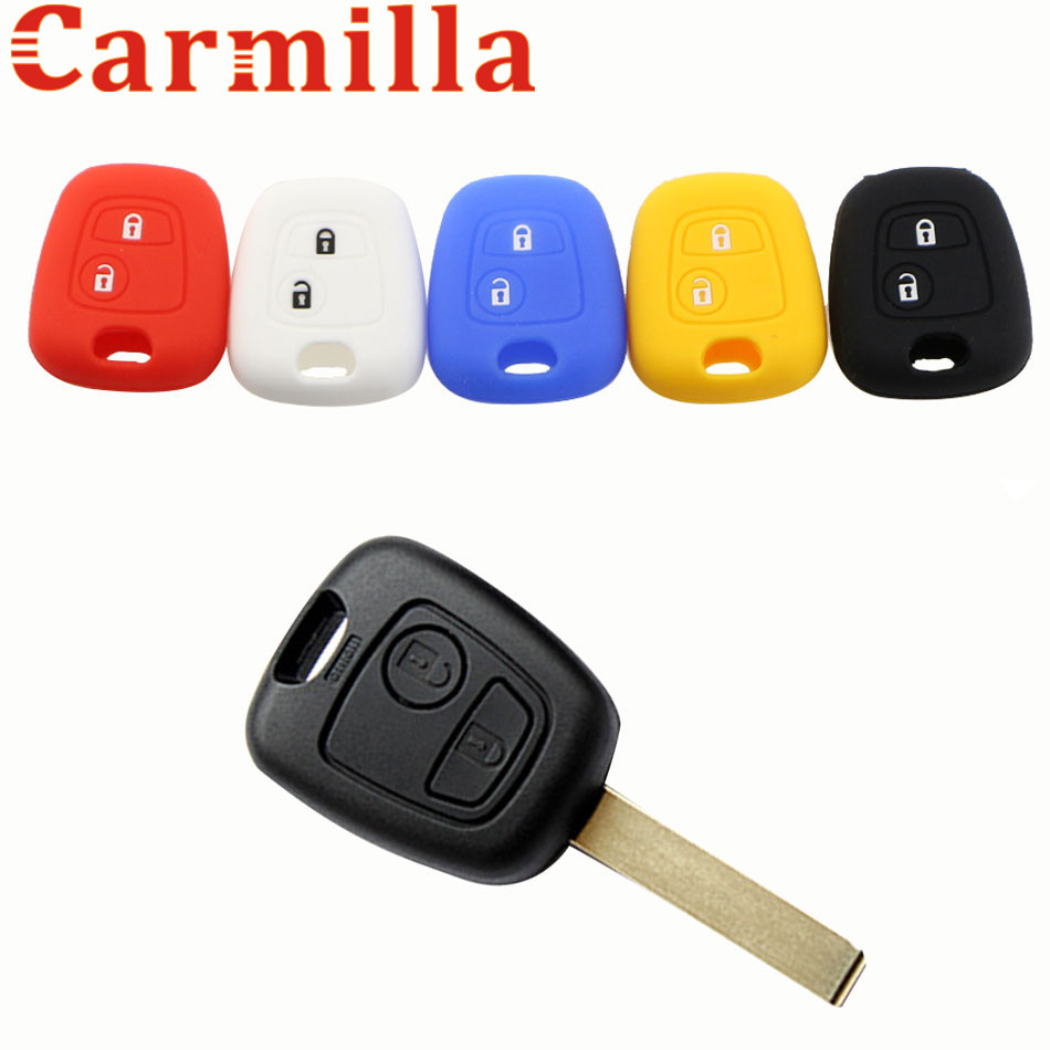 Silicone Key Cover Case for Peugeot 107 206 307 207 406 408 for Citroen C1 C2 C3 Berlingo Picasso Xsara Picasso for Toyota Aygo okeytech silicone case for citroen c4 c5 c3 c2 c4l xsara picasso for peugeot 208 207 308 rcz 408 407 307 206 car flip key cover