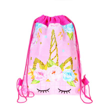 Fashion Drawstring Bag 3D Printing Unicorn Drawstring Backpack Women daily Casual Girl's knapsack Drawstring Bags Kids12pcs/Lot