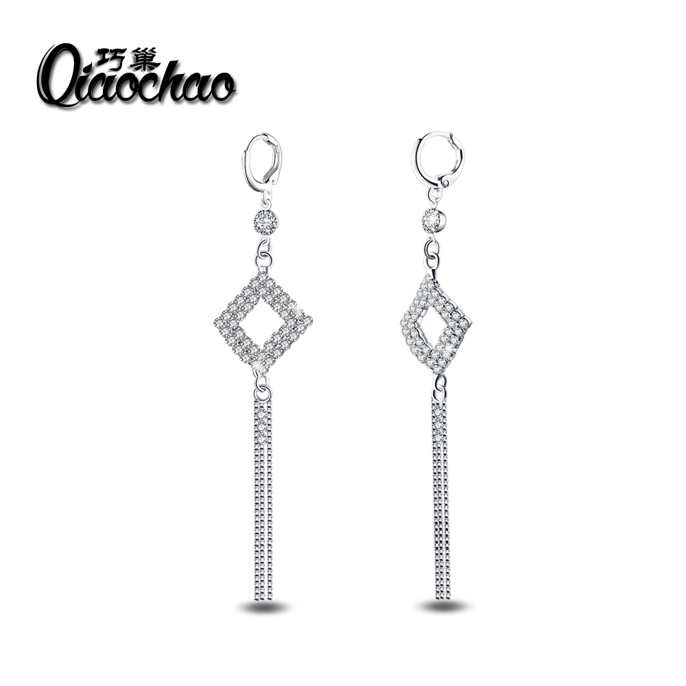 New font b Luxury b font Excellent rhinestone Drop Earrings CZ Crystal Earrings Bridal font b
