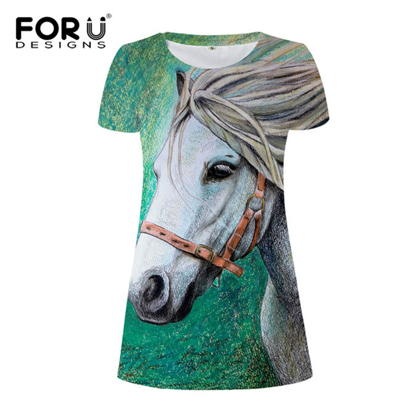 FORUDESIGNS Funny Horse Vintage Beach Dress for Woman Ladies Youth Girls T shirt Dresses Animal Clothes 2017 Vestidos S M L XL