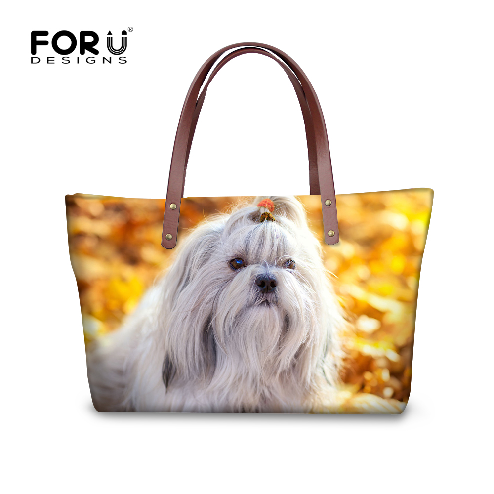 FORUDESIGNS Bags handbags women Designer Brands Shoulder Bags Female 3D Shih Tzu Printing Large Tote Bag Bolsas Femininas Sac